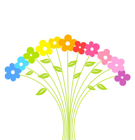 Colorful cute bouquet of flowers .  Vector