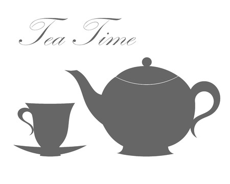 Teapot and tea cup.  Vector