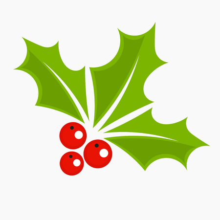 three leaves: Holly berry icon, Christmas symbol. Illustration