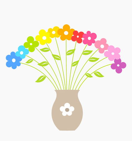 Bouquet of colorful flowers in vase. Vector illustration Vector