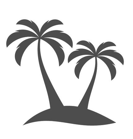 albero da frutto: Palme sihouette sull'isola. Illustrazione vettoriale Vettoriali