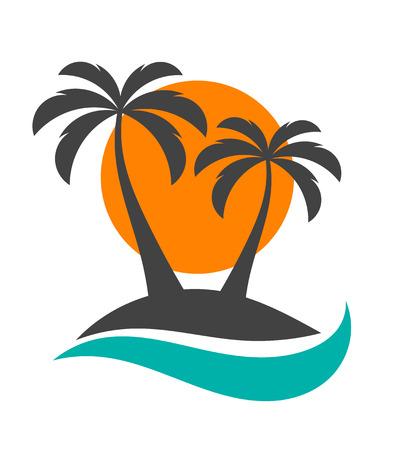 arboles blanco y negro: Silueta de las palmeras en la isla.
