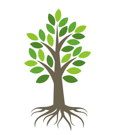 flat leaf: Tree with roots icon.  Stock Photo
