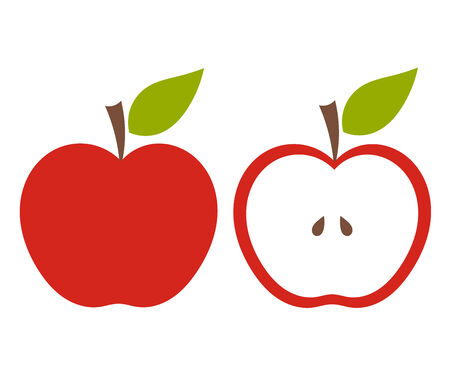 half apple: Red apples, whole and half of fruit.
