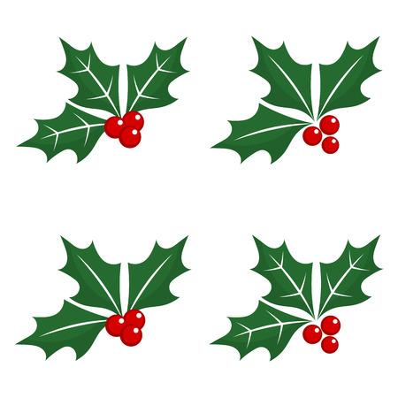 muerdago: Conjunto de la baya del acebo símbolos de la Navidad. Ilustración vectorial