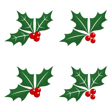 aquifolium: Set of holly berry Christmas symbols. Vector illustration