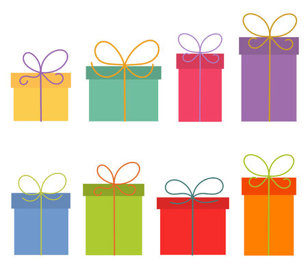 Colorful presents isolated on white background.