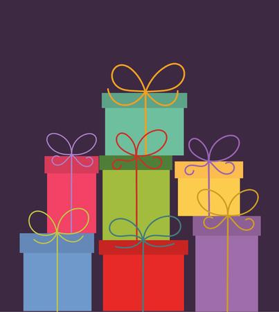 화려한 크리스마스 선물의 스택