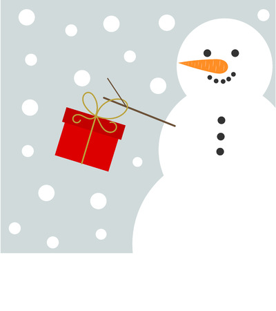wish of happy holidays: Snowman with red present. Christmas vector card