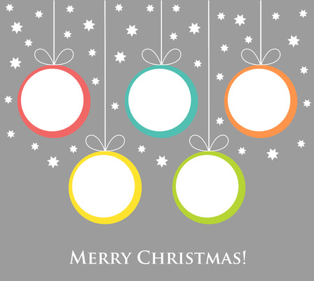 christmas balls: Christmas balls tags hanging. Vector illustration card