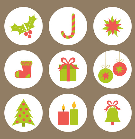 christmas baubles: Set of flat Christmas icons. Vector illustration