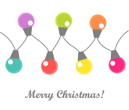 Christmas lights bulbs on white background. Vector illustration Vector