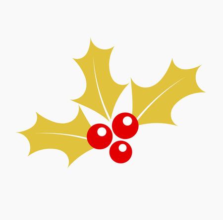 aquifolium: Gold holly berry icon.Christmas symbol vector illustration Illustration
