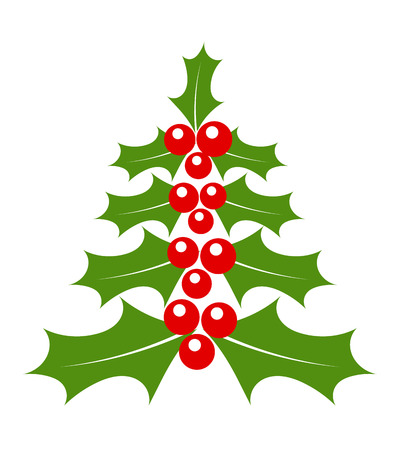 aquifolium: Holly berry Christmas tree vector
