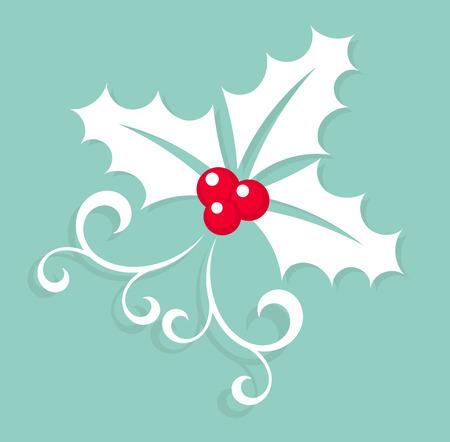 christmas symbols: White Christmas symbol holly berry. Vector illustration