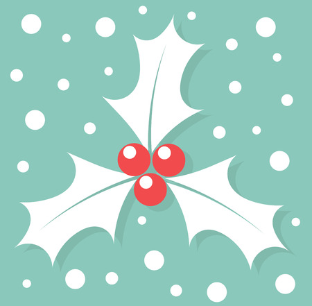 red berries: White Christmas symbol holly berry. Vector illustration