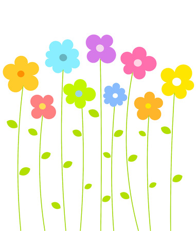 Fantasy spring flowers growing. Vector illustration Vector