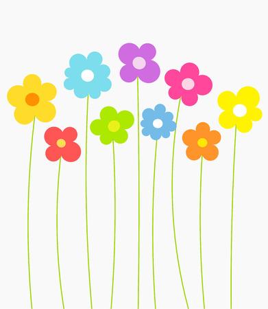 Fantasy spring flowers growing. Vector illustration  イラスト・ベクター素材