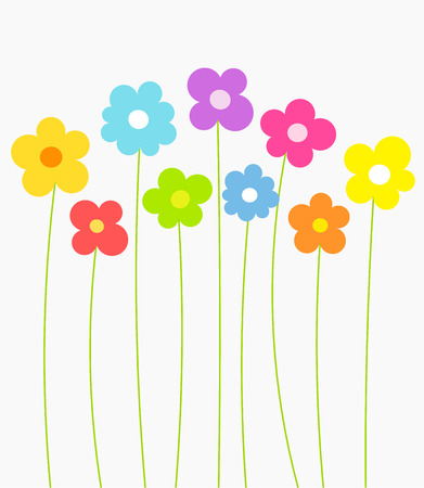 campo de flores: Flores de la fantas�a de primavera en crecimiento. Ilustraci�n vectorial