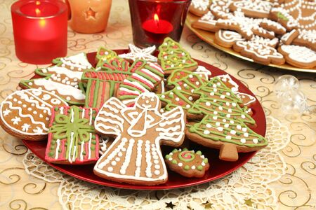 gingerbread cookies: Christmas gingerbread cookies decorated Stock Photo