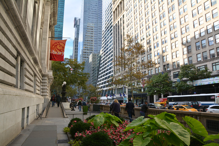 public library: NEW YORK CITY, USA - OCTOBER 24, 2014: The main branch of New York Public Library in Manhattan, view from 42nd Street. The NYPL is the second largest public library in the United States