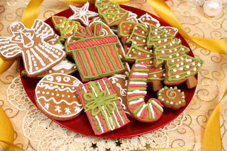 home decorated: Decorated Christmas gingerbread cookies