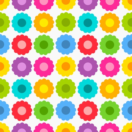 Cute colorful flowers seamless pattern. Vector illustration Vector