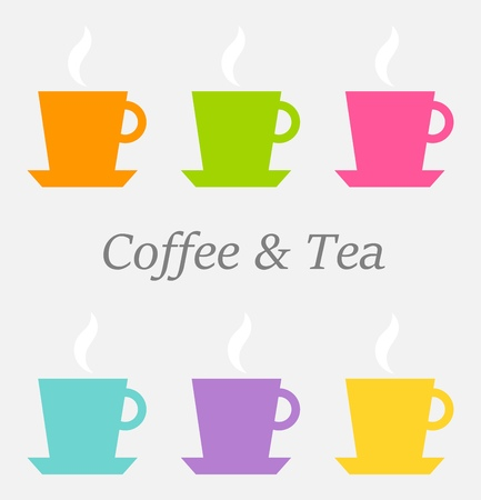 Colorful cups of tea and coffee. Vector illustration Vector