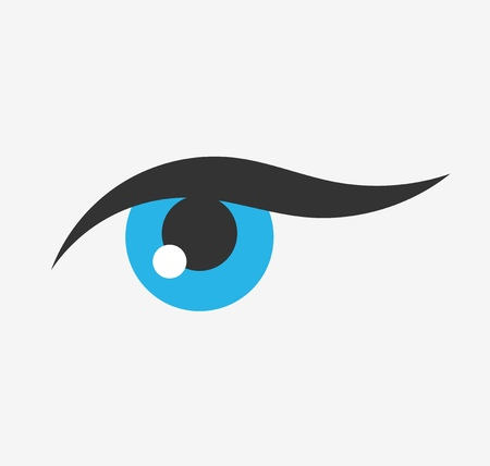 blue eye: Woman blue eye icon. Vector illustration