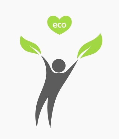 Eco man with leaf. Vector illustration Vector