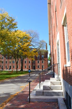 prestigious: CAMBRIDGE, USA - OCTOBER 20, 2014: Harvard University yard. Harvard is the most prestigious and  oldest university in United States