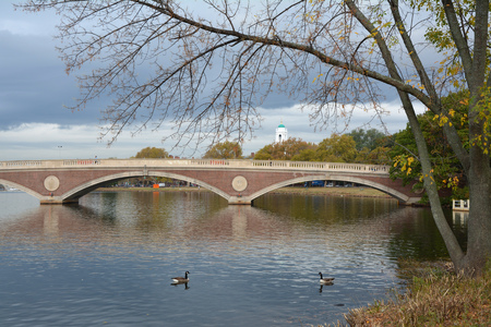 campus tour: Footbridge in Cambridge, Massachusetts. Harvard University campus in background Stock Photo