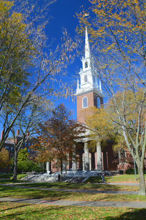 prestigious: CAMBRIDGE, MA, USA - OCTOBER 20, 2014: Memorial Church in Harvard University yard. Harvard is the most prestigious and oldest university in United States Editorial