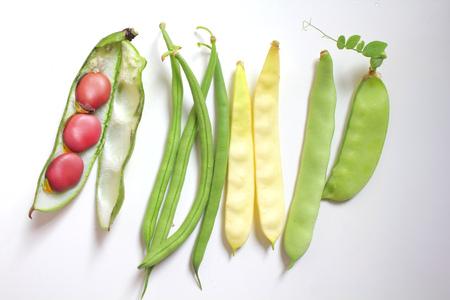 leguminosas: Variedad de legumbres frescas orgánicas: judías verdes y amarillos, guisante, haba Foto de archivo