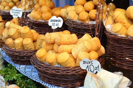 oscypek: Traditional polish smoked cheese oscypek in Krakow