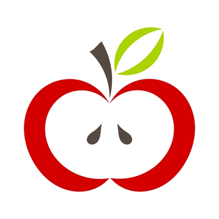 Red apple with green leaf icon. Vector illustration
