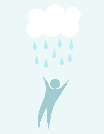 raining: Man under raining cloud. Vector illustration