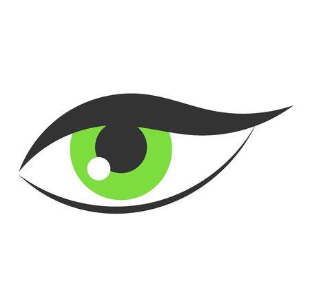 eye green: Icono de la mujer de ojos verdes. Ilustraci�n vectorial