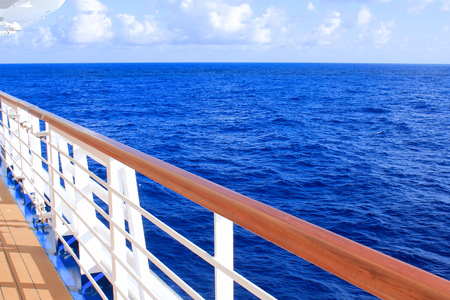 View from cruise ship deck on ocean