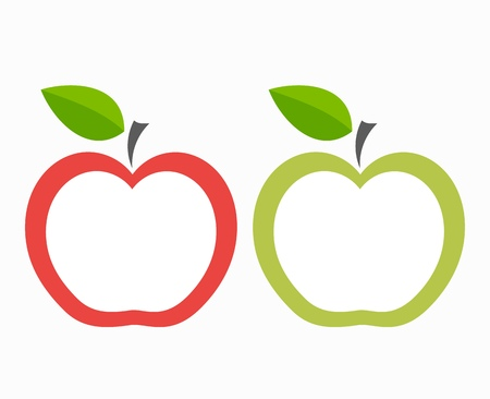apple border: Red and green apple labels. Vector illustration