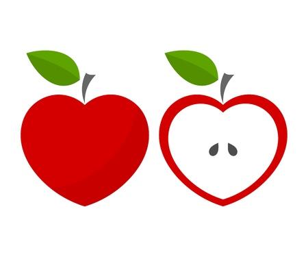 Red heart shaped apples. Vector illustration