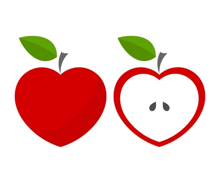 Red heart shaped apples. Vector illustration