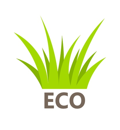 ecology emblem: Eco symbol of green grass. Vector illustration