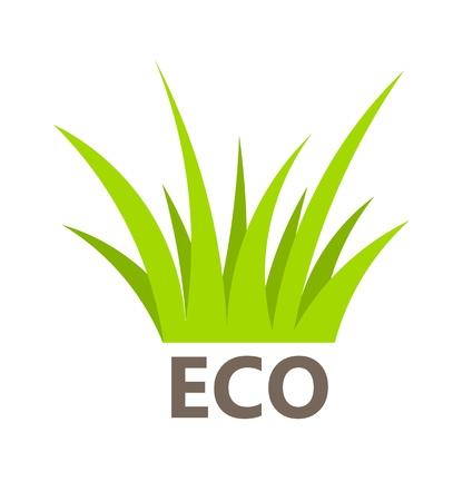 Eco symbol of green grass. Vector illustration