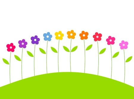 Cute spring colorful flowers growing on hill. Vector illustration Vector