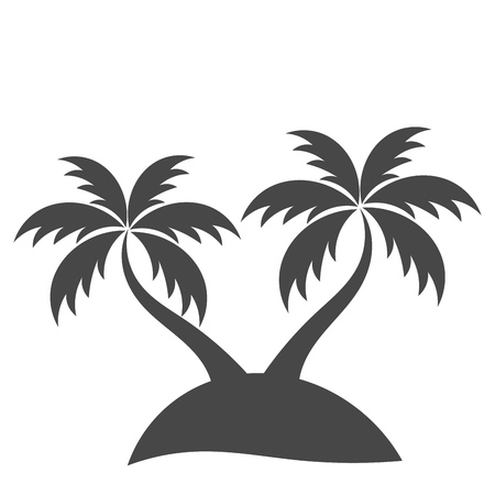 Palm trees silhouette on island. Vector illustration Vector