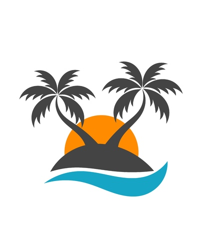 Palm trees silhouette on island. Vector illustration