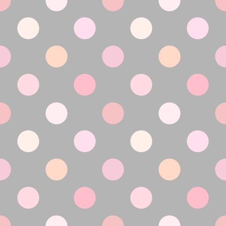 ダスティ ピンク水玉シームレス パターン。ベクトル図  イラスト・ベクター素材