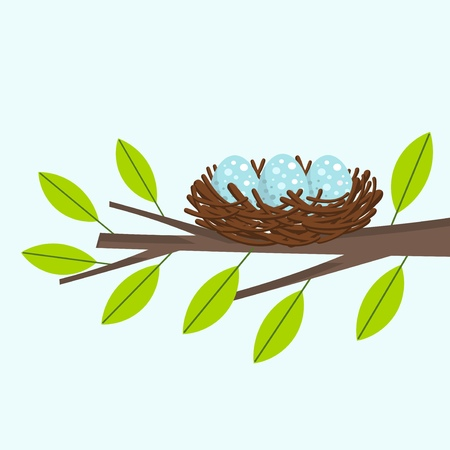 Bird nest on the tree branch. Vector illustration