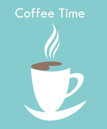 Coffee time - cup over blue background. Vector illustration Vector